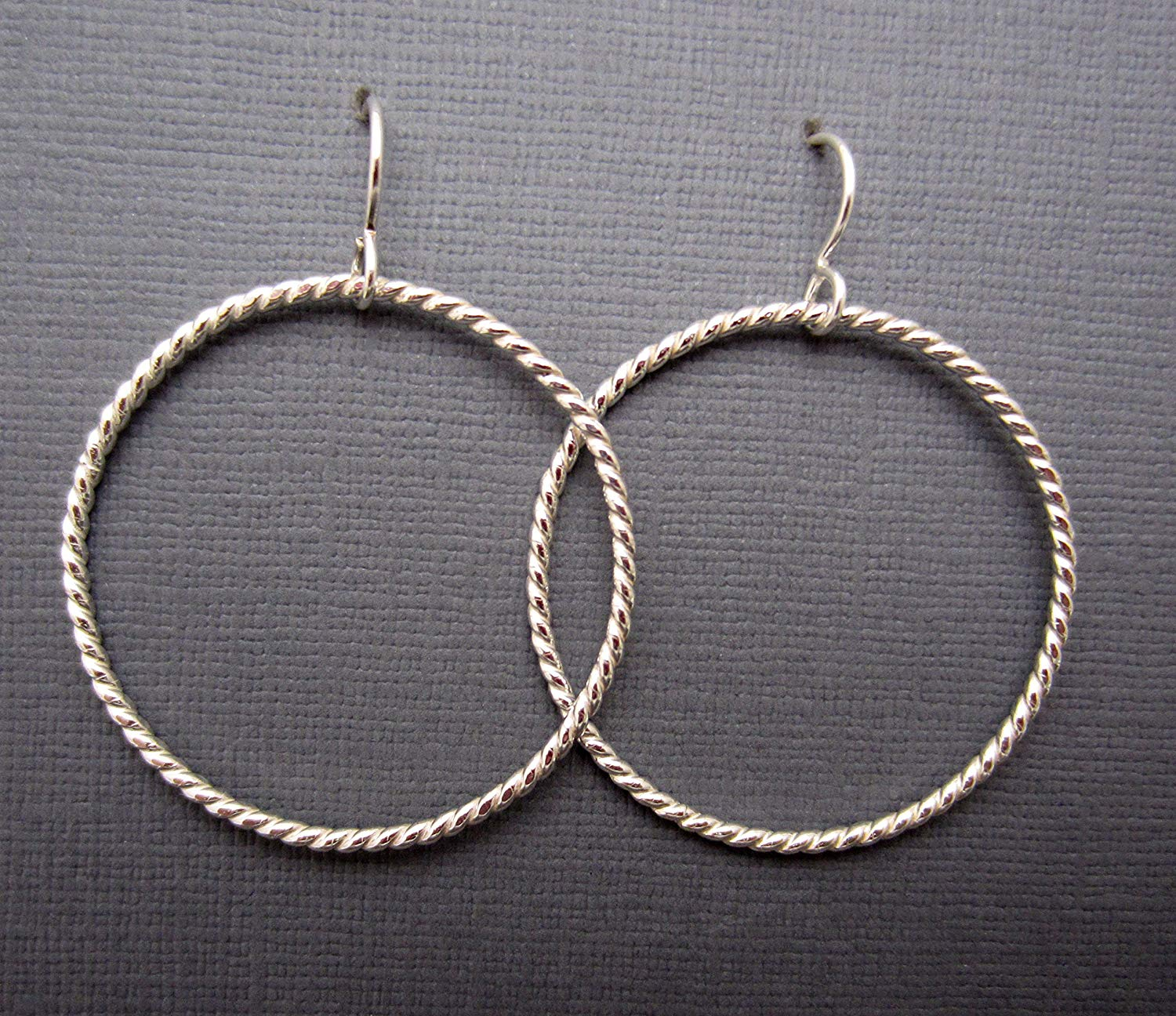 Get Quotations 1 3 8 Round Argentium Sterling Silver Twisted 16 Gauge Dangle Hoop Earrings Ready