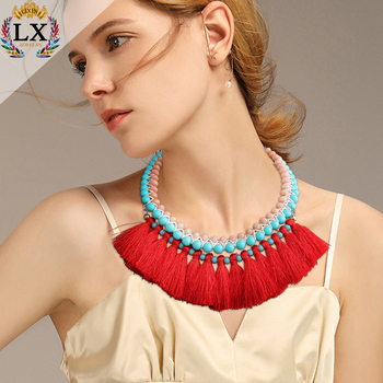 NLX-01025 latest fashion glass bead braid tassel necklace wholesale colorful bib women