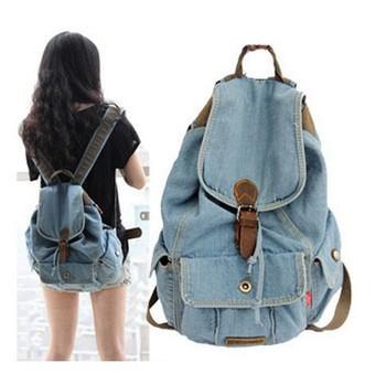 new women girls retro jeans backpack school travel sling