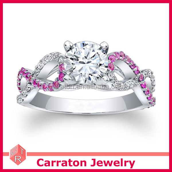 new design 925 real silver jewelry twisted white and pink zircon engagement ring
