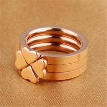 Speed sell tong sell like hot cakes Lucky grass rose gold three-piece combination Personality of female titanium steel ring
