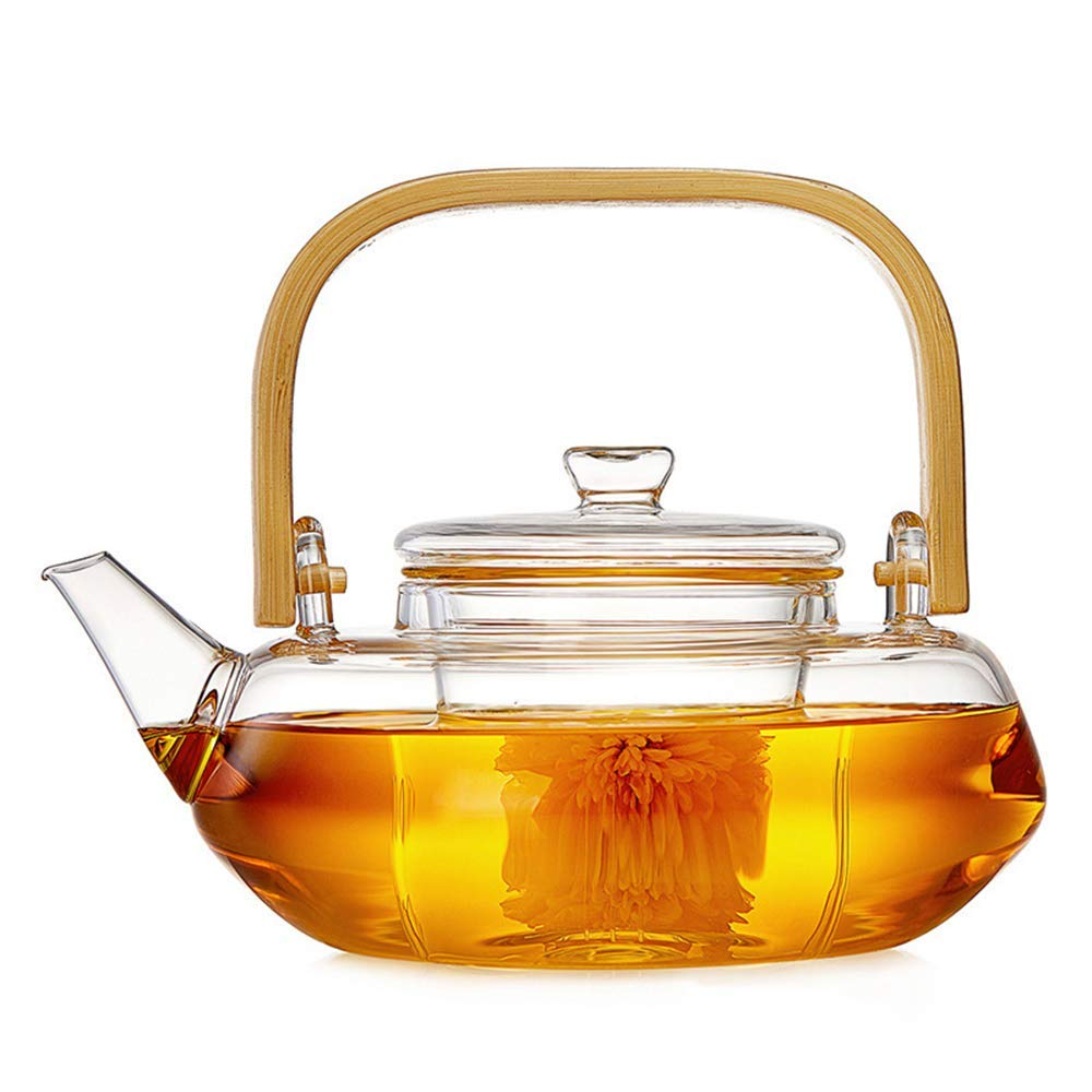 COLORFULTEA - Glass Teapots - 800 ml (27.3 oz) - Flat Glass Teapot With Bamboo Handle/Borosilicate Heat Resistant Glass Teapot/Heat-resisting Glass Teapot With Glass Infuser