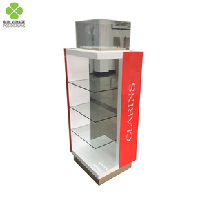 Branded custom wooden shelving rack cosmetic display unit