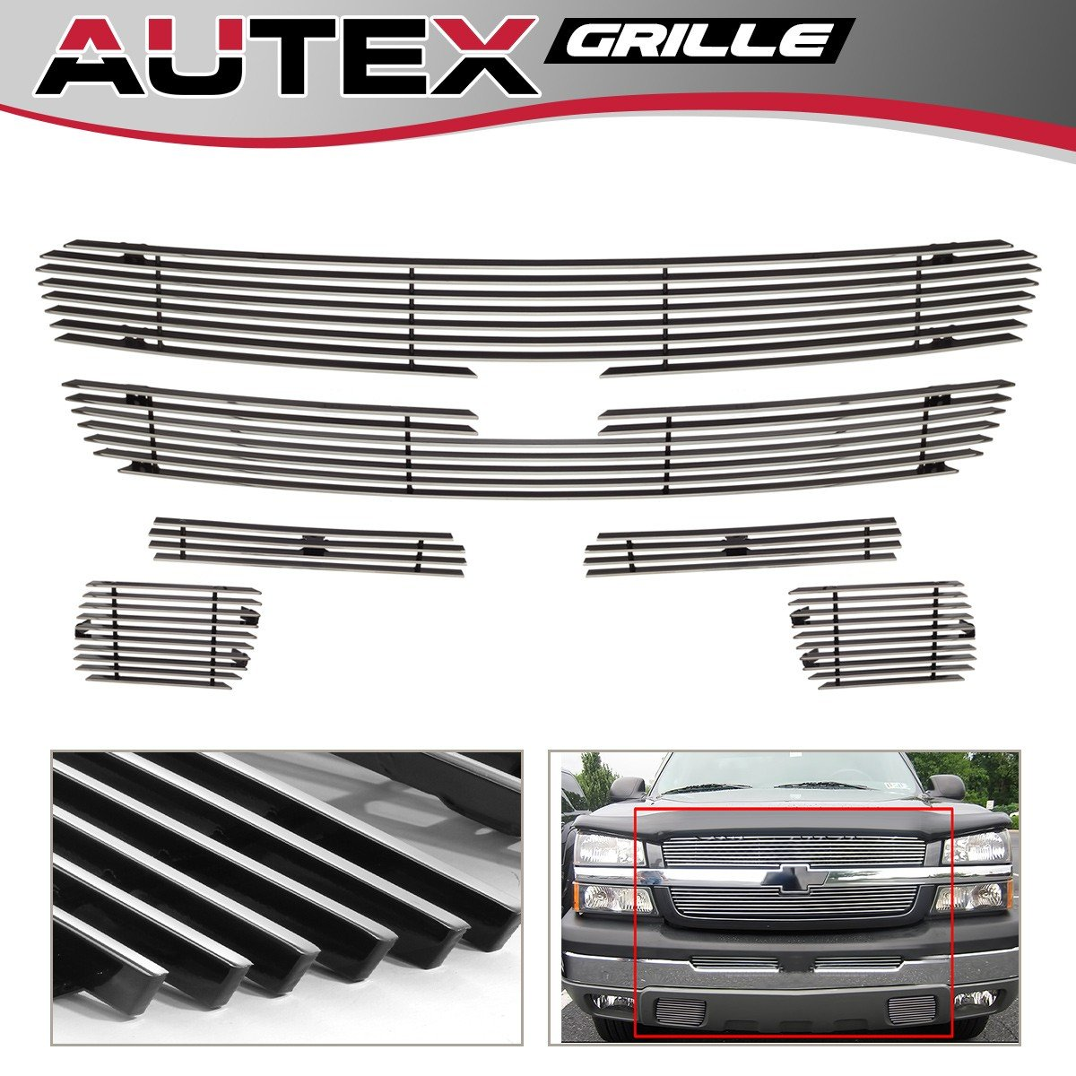 AUTEX Main Upper Grille + Air Dam Grille + Tow Hook Billet Grille Insert Combo Chrome Aluminum C67887A for 2003 - 2005 Chevy Silverado 1500/1500 HD, 2003-2004 Chevy Silverado 2500/3500/2500 HD