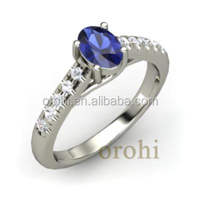Wholesale Oval Design Gemstone 18k Solid Gold Wedding Ring For ...