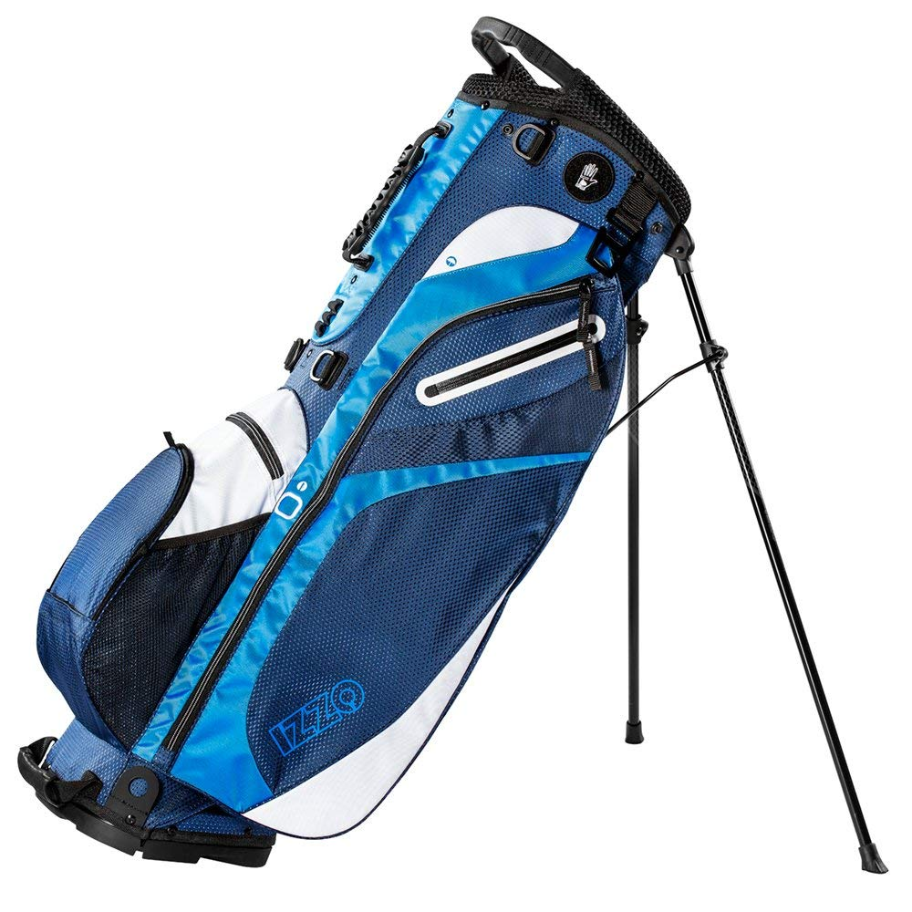 IZZO Lite Stand Golf Bag - Black, Red, Green or Blue - lite carry golf bag, walking golf bag, ultra light perfect for carrying on the golf course, with dual straps for easy to carry golf bag.
