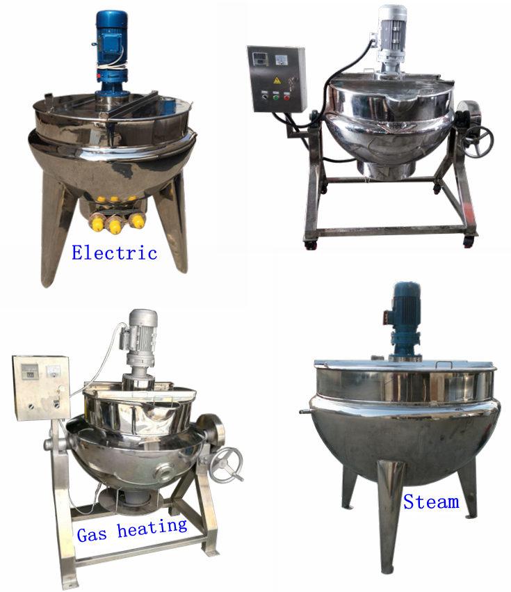 300l 800l lebensmittel dampf öl heizung rührwerk reaktion kochen candy drei schicht ummantelten wasserkocher