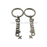 Name keychains/lastic alphabet dice keychain with country name made in china
