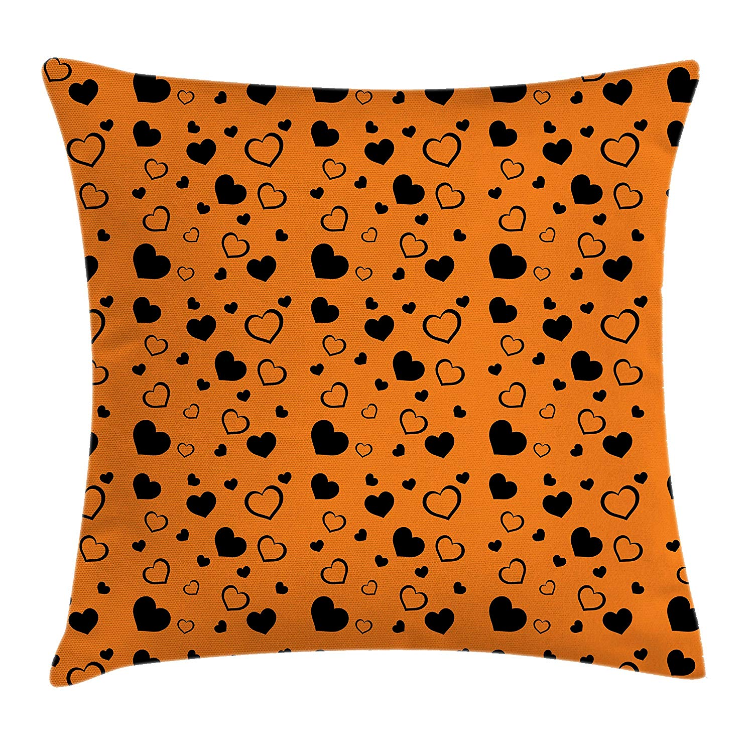 Hearts Throw Pillow Cushion Cover by Lunarable, Vibrant Color Background with Monochrome Hearts with Various Sizes Romance Design, Decorative Square Accent Pillow Case, 26 X 26 Inches, Orange Black
