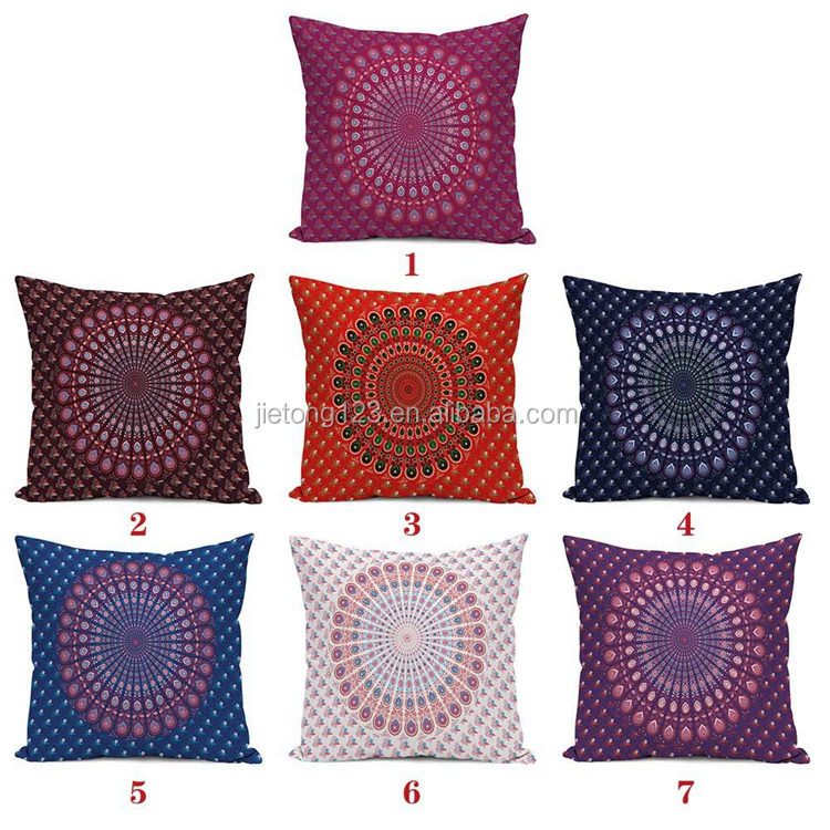 Round Ornament Moroccan Ethnic Oriental Mandala Inspired Antique Arabic Artwork Cushion cover