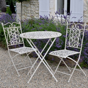 Wrought iron folding table and chairs vintage bistro set garden furniture
