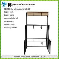 Metal display of wrought iron corner shelf/3-tier floor basket stand/laundry basket stand