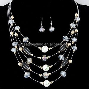 2014 Fashion multilayer beads crystal saree necklace sets