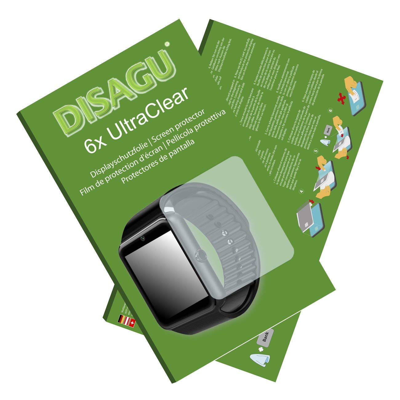 DISAGU 6x Ultra Clear Screen Protector for GSTEK Bluetooth Smart Watch (intentionally smaller than the display due to its curved surface)
