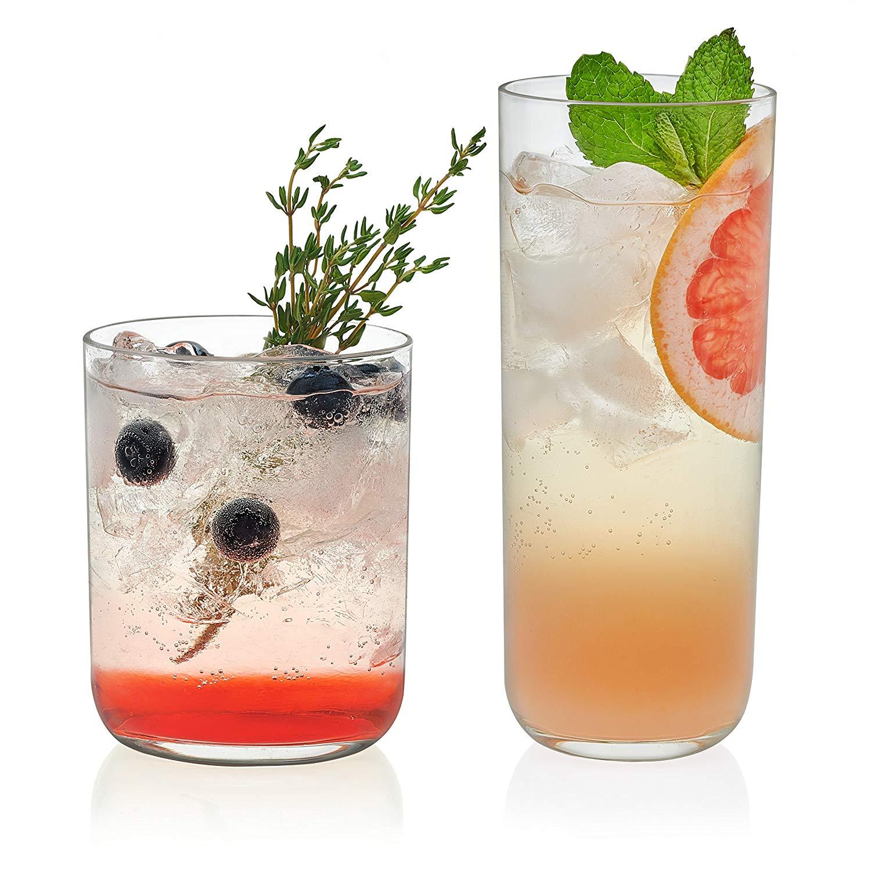 Libbey Lisbon Glass Drinkware Combination Set, 8-15.2 ounce Drinking Glasses & 8-12.2 ounce Rocks Glasses, Lead-Free