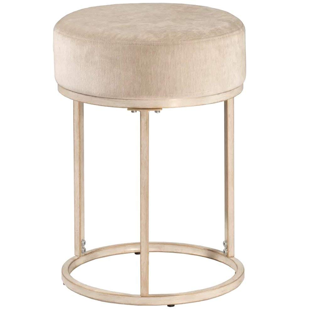 Cheap Vanity Stool, Modern Antique Contemporary Round Mirrored Vanity Stool with Wood Frame and Beige Seat & E-Book