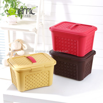 Emc Plastic Storage Baskets With Lid And Handle, Plastic Square Sundries  Baskets