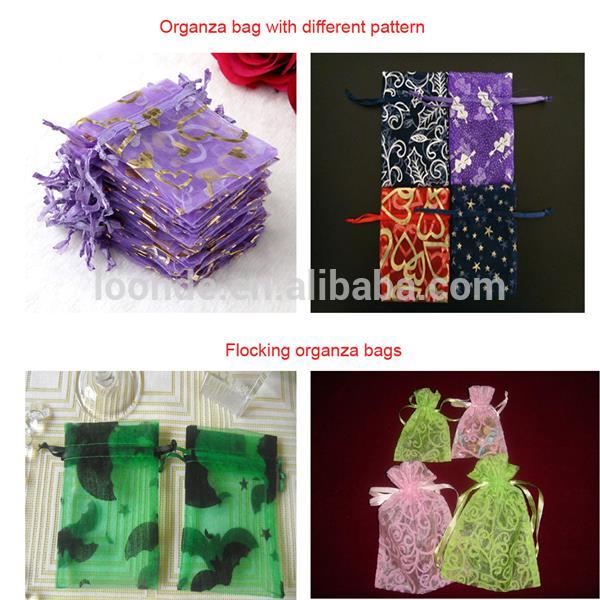 Top quality drawstring jewelry organza pouch with tag
