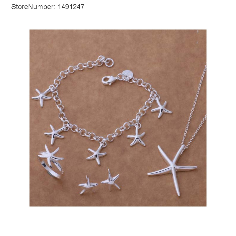 Fashion Hot Sale Wedding Earrings Jewelry Sets Sterling Silver Starfish Pendant Necklace Sets Wholesale