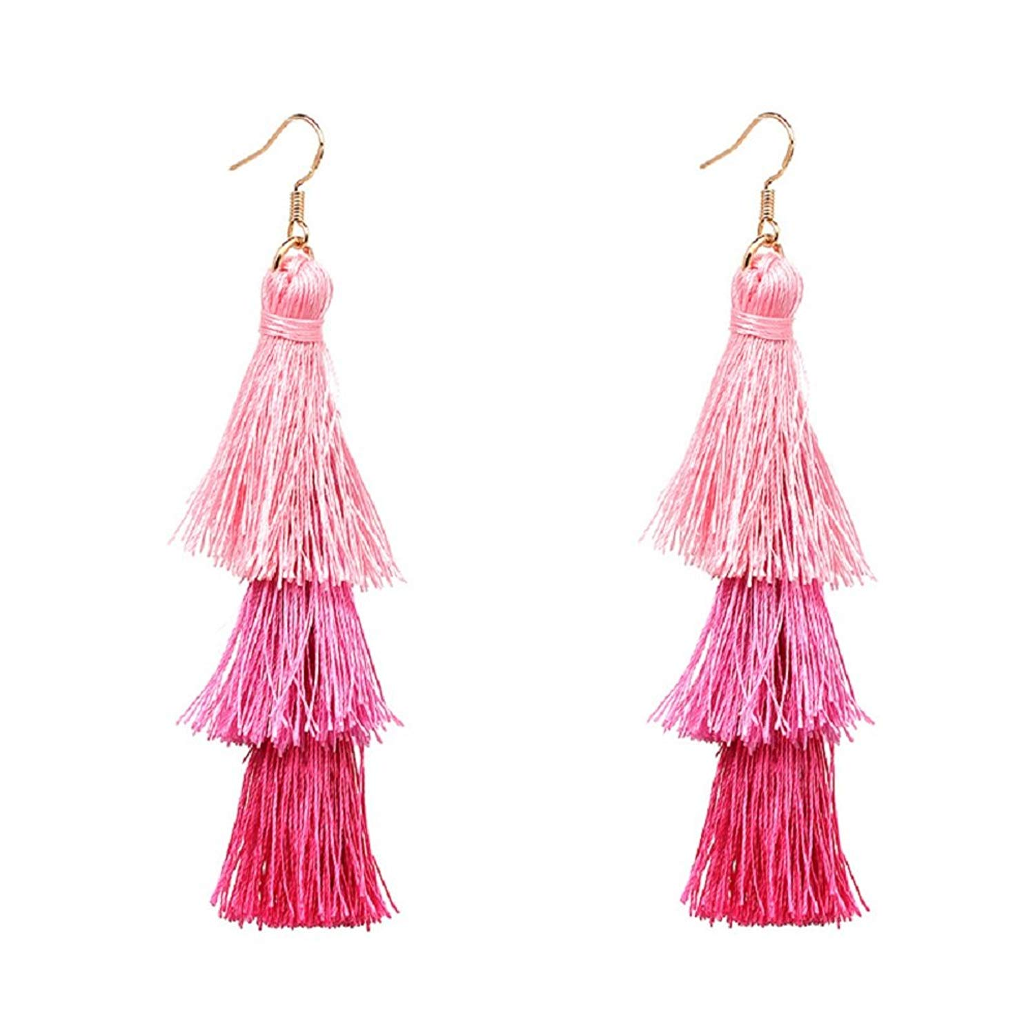 Multi Layered Bohemian Tassel Drop Earrings Colorful Tiered Thread Statement Long Dangle Earrings Gold Plated Fish Hook