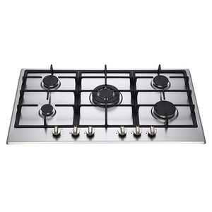 900mm 5 burners stainless steel electronic timer LED knob cast iron pan support safety device built in gas hob