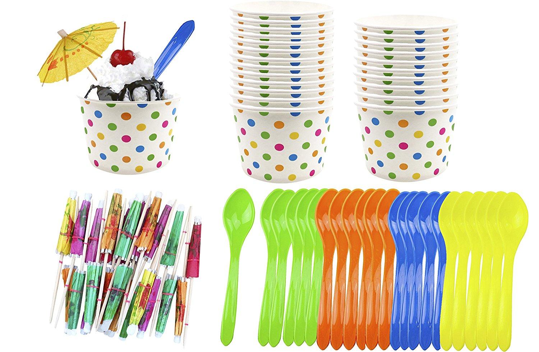 Ice Cream Sundae Kit - 8 Ounce Polka Dot Paper Cups - Plastic Spoons - Paper Umbrellas - Blue Orange Yellow Green - 24 Each