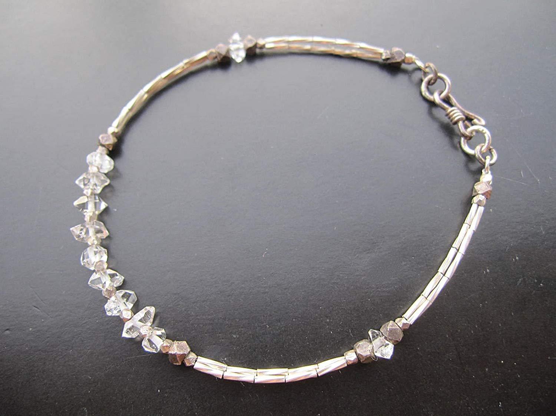 """Herkimer diamond Bracelet,Karen Hill Tribe Silver Bracelet,Custom size 6.5"""",7"""",7.5"""",8"""""""