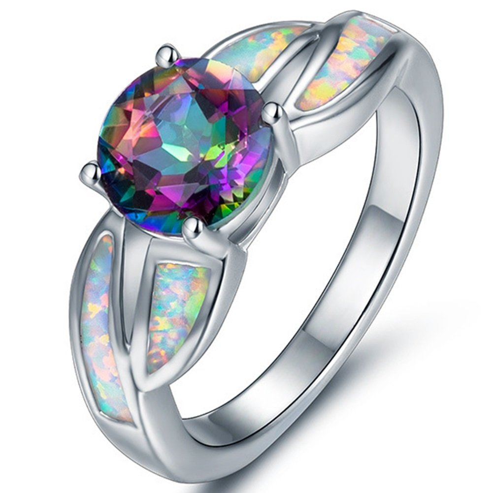 Jude Jewelers Rhodium Plated Fire Opal Cubic Zircon Wedding Engagement Anniversary Ring