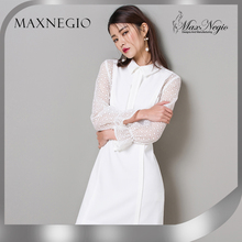 56ed8f0271 Negro Blanco de Oficina Vestidos de Las Mujeres 2016 Otoño Nueva Moda  Llegada de Manga
