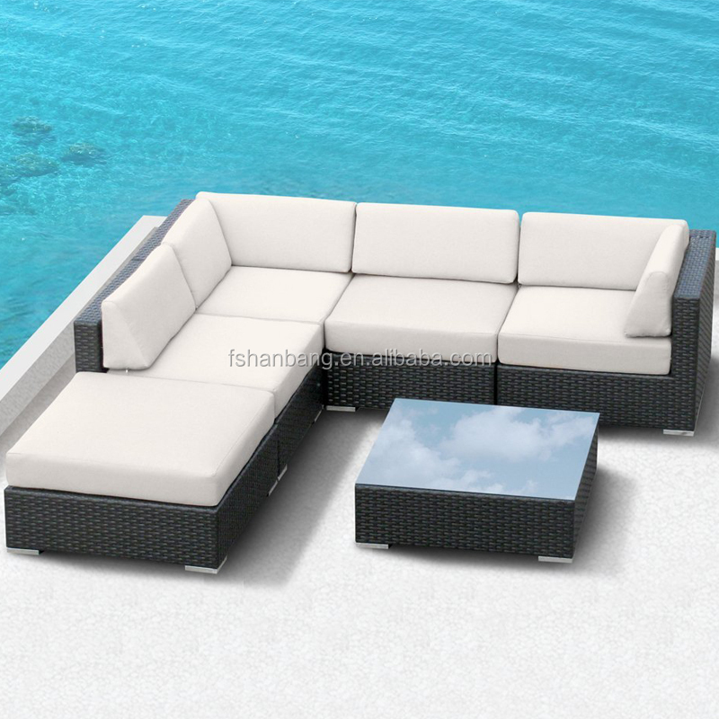 Rattan Outdoor Furniture Patio Wicker Black Sectional Modular Sofa Couch  Lounge Set