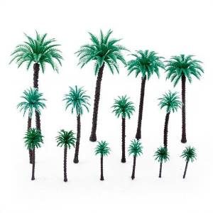 TOOGOO(R) 14Pcs 1.9 Inch - 6.6 Inch Model Coconut Palm Trees Layout Train Scale 1/50