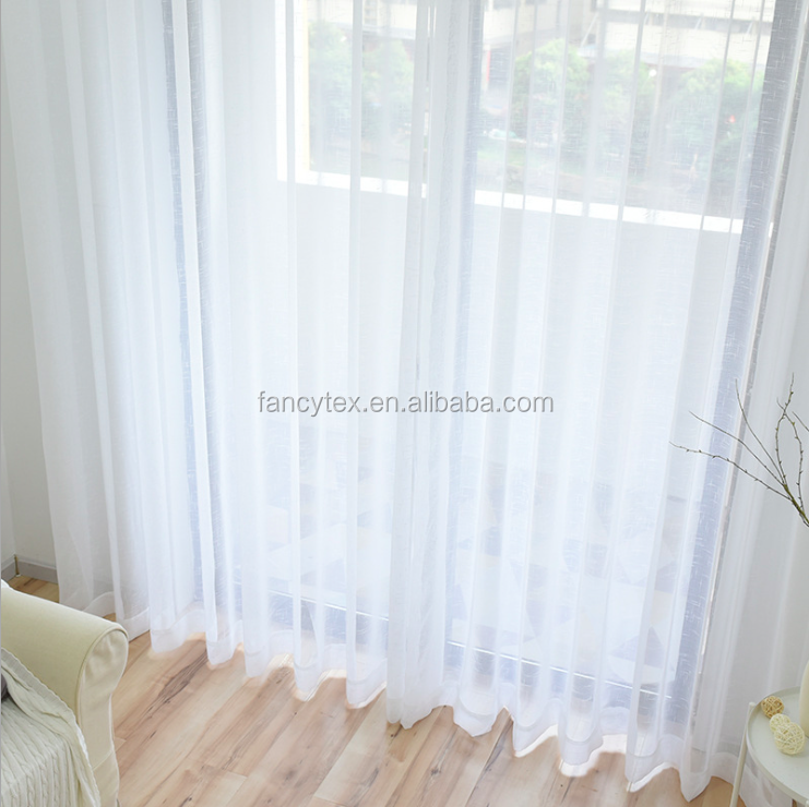 100%polyester white sheer voile curtain for liveroom bedroom hotel window decoration drapes voile embroidered custom curtain