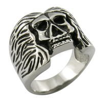 Skull with long hair charming trend 316L stainless steel ring jewelry