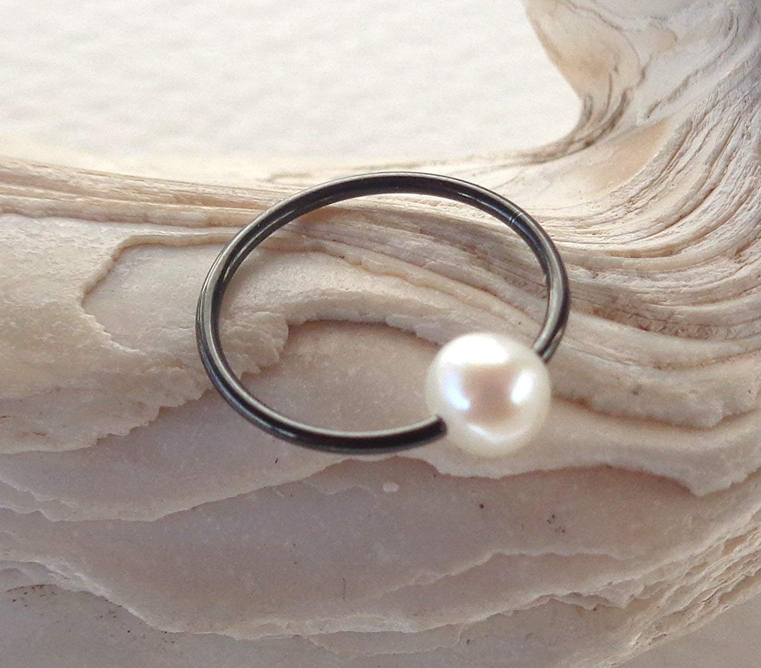 BCR,Captive Freshwater Pearl Septum,Upper Ear Daith Rook,Tragus,Cartilage,Helix,Hoop Earring,Nose Ring,Eyebrow Piercing
