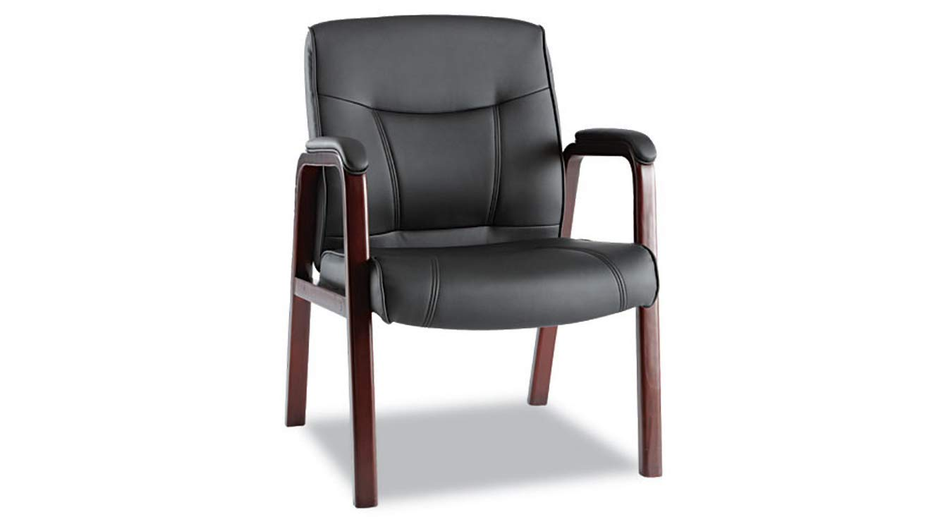 Guest Chair with Wood Trim, Four Legs Alera Madaris Series Leather Black/Mahogany K&A Company