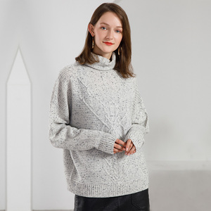Turtleneck Knitted Sweater Manufacturers Wholesale 100% Cashmere Rol Neck Sweater Female Pullovers With Dots