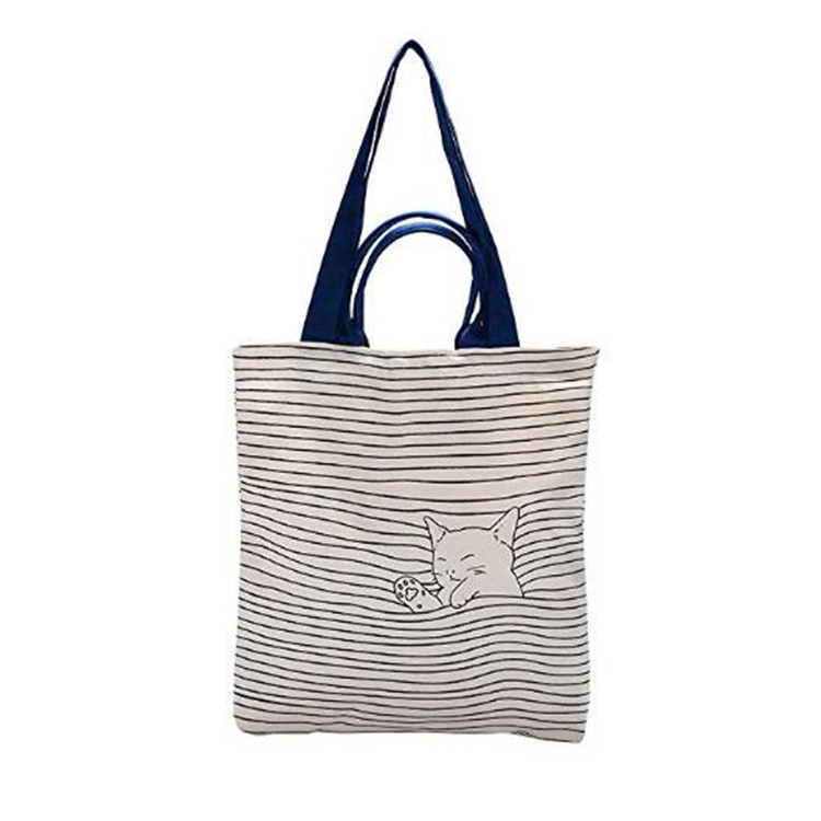 Wholesale adorable large canvas tote bag with inner pocket beach cotton bag for shipping