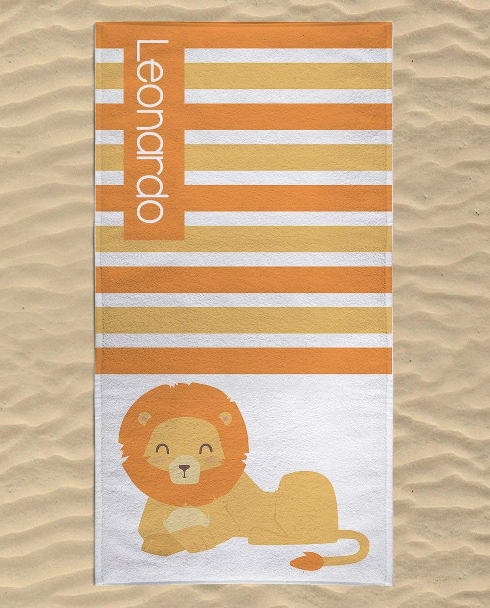 Personalized Lion Microfiber Beach Towel for Kids - Yellow and Orange Lion Striped Beach Towel, Kids Swimming Towel, Custom Beach Towel, Lion Gifts for Girls, Beach Flat Towel 60x30 inches