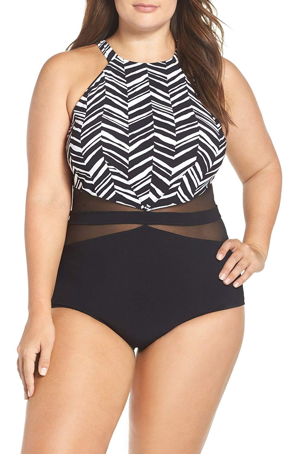 36df69577f7 Get Quotations · Profile by Gottex Women s Plus Size Marble High Neck One  Piece Swimsuit (US  16W