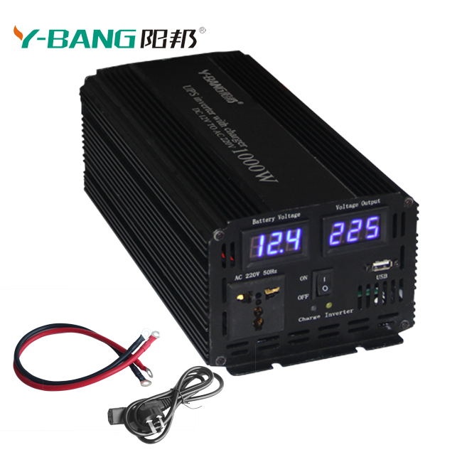 1000W DC 12V to AC 220V Auto Switch Uninterrupted Power Supply Pure Sine Wave Power UPS Inverter with Battery Charger Function