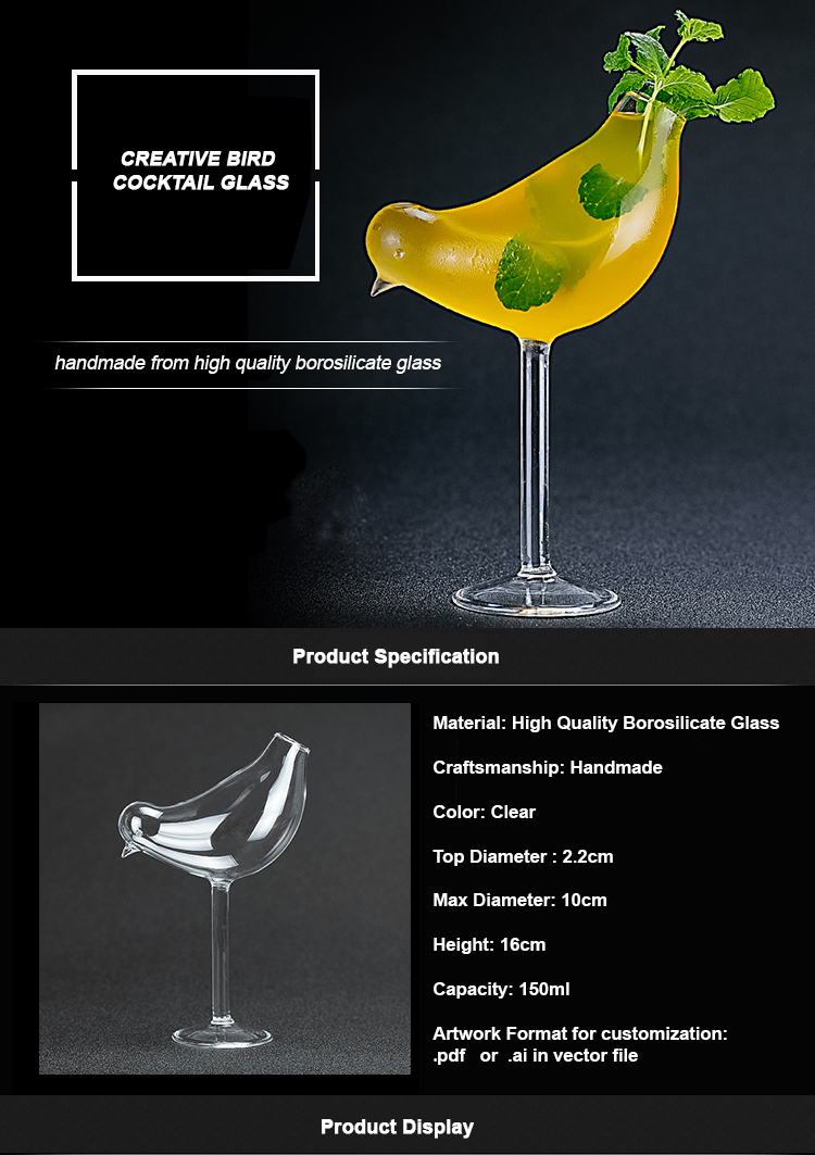 150ml Handmade Borosilicate Fancy Straw Bird Cocktail Glass Cup