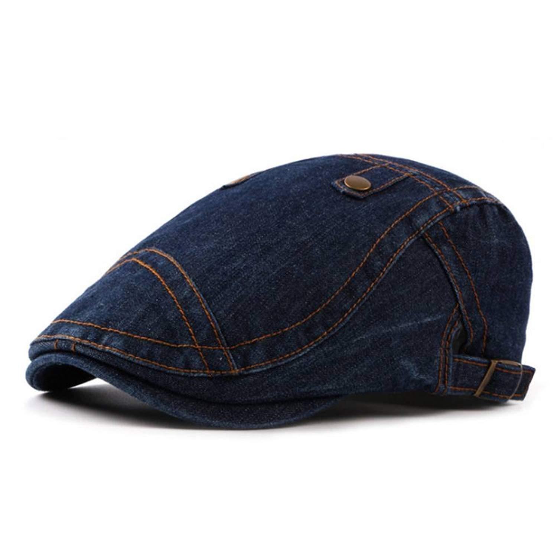 Roffatide Unisex Denim Flat Cap Newsboy Ivy Irish Hats Jean Cabbie Scally Cap Duckbill Hat