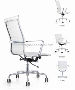 White leather/PU/PVC office chair with armrest