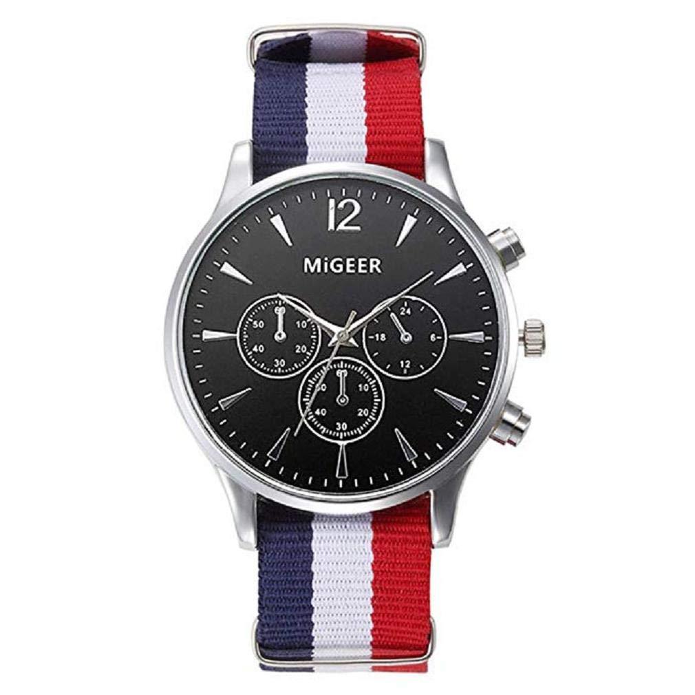 Womens Mens Unisex Quartz Watch,Windoson Unique Analog Wristwatch,Fashion Design Watches with Round Dial Case,Comfortable Canvas Band (Black)