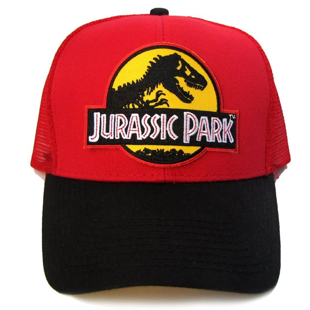 a8bed37a2 Buy Jurassic Park Movie Yellow Patched Trucker Black Red Mesh Hat ...