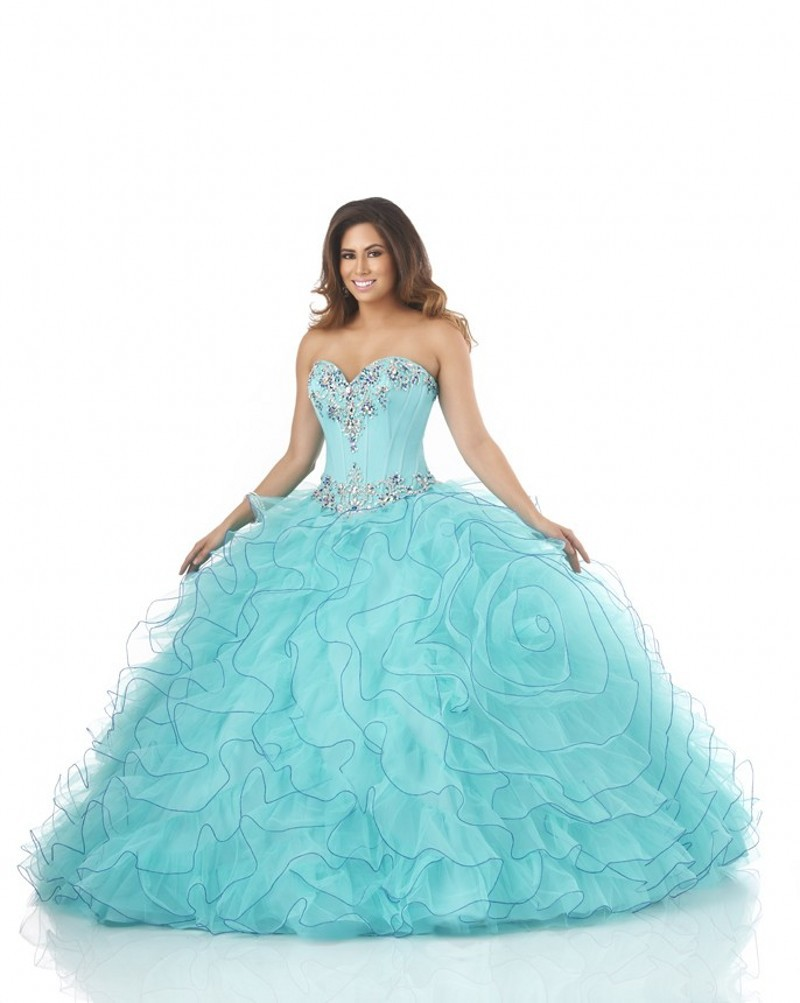 661d14f52e3 Get Quotations · Beaded Top Organza Ruffled Dress 15 Years Blue Ball Gown  Quinceanera Dresses Quinceanera 15 Years Vestidos