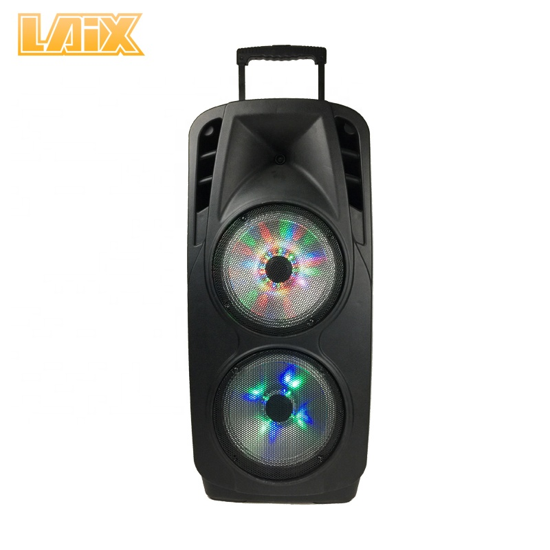 Laix DP-A9 Dual 15 Inch Portable  Speaker with Led Light,with Trolley and Wheels,Karaoke Outdoor  Speaker