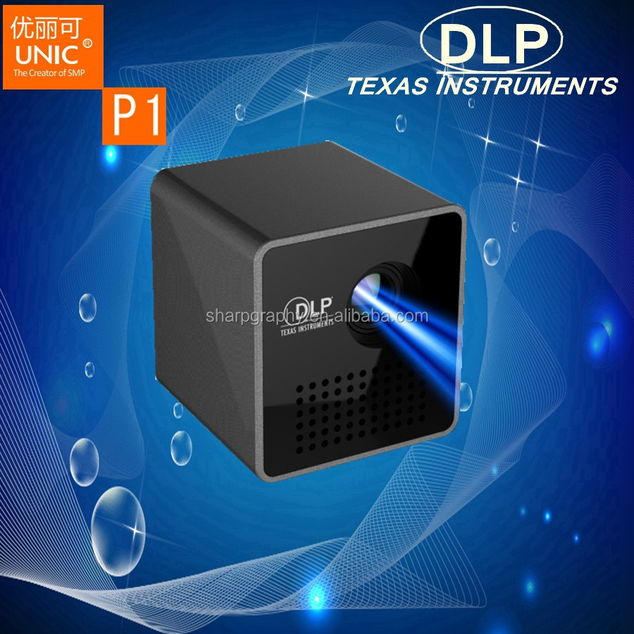 UNIC Full HD 3D 1080P LED DLP P1 Mini Smart Portable Cube Projector with Battery