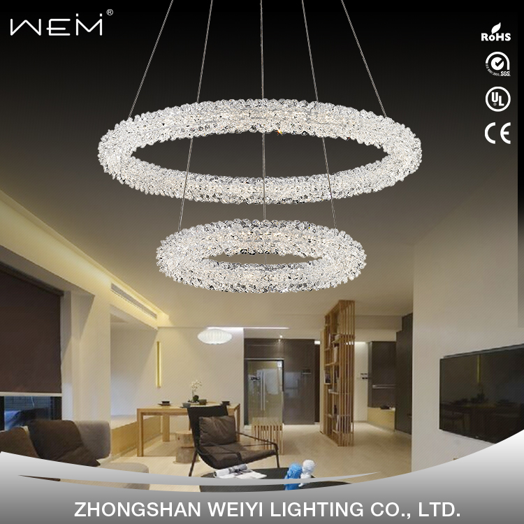 interior decoration modern chandelier crystals led round pendant light