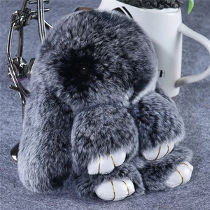 Genuine Rabbit Fur Ball Mobile Phone keychain